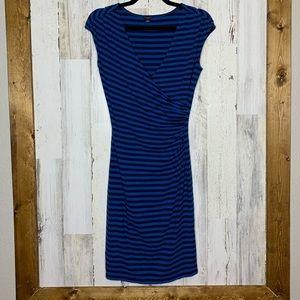 Ann Taylor Jersey knit blue striped wrap dress